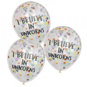 "Balony z konfetti ""I believe in Unicorns"""